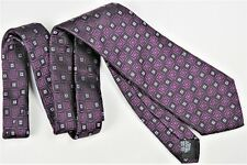 HUGO BOSS Mens Tie Designer Luxury Italy Classic Silk Purple Black Geometric EUC