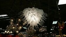 "Large Frosted White Handblown Glass Chandelier 43""DIA Custom Artist Lighting"