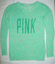 Victoria's Secret LOVE PINK Knitted Oversize Sweater Big Logo Green XS X - small