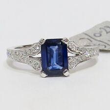 18ct  WHITE GOLD EMERALD CUT 1.20 CARAT  BLUE SAPHIRE AND DIAMOND  RING