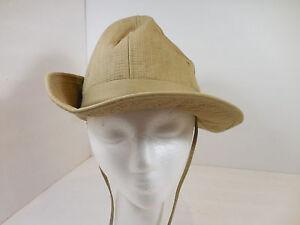 "Vintage Columbia Booney Boonie Bora Bucket Fishing Sun Hat Khaki USA Sm 20-1/2"""
