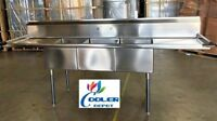 """NEW 102"""" Stainless Steel Sink 3 Compartment Commercial Kitchen Restaurant NSF"""
