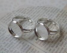 5 pcs antique silver ring base blanks 12mm plateau cadre et verre cabochons