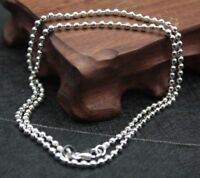 New Real S925 Sterling Silver Chain Women Men Smooth Bead Link Necklace 18inch