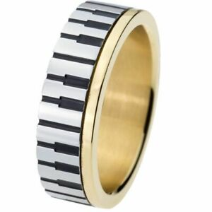 Piano Key Board Ring Stainless Steel Wedding Engagement For Music Lovers Jewelry