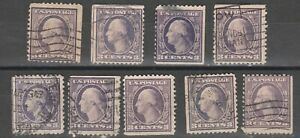 USA Scott #  502 Washington 3 Cent perf 11 Used Lot of 9 stamps S EDGE ( 502-9)