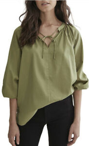 Country Road Self Self Popover Shirt [4] NWT RRP$100 Olive Green