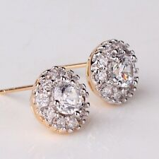 Very Popular 18K Yellow Gold Diamond Cluster Stud Earrings    292
