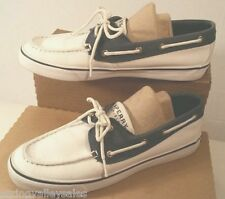 SPERRY Top Sider Boat Deck Shoes Loafer Slip-On White Navy Blue Canvas  Women 8M