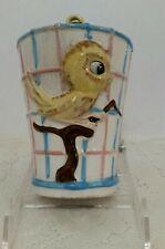 Vintage Ceramic Bird Cage Bank with Yellow Bird and Metal Hanger No Plug