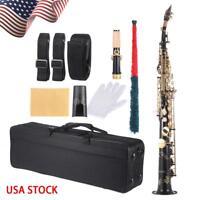 ammoon Brass Straight Soprano Sax Saxophone Bb B Flat with Case Black A3C9
