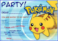 Pokemon Pikachu Party Invitations x 10 c/w Envelopes