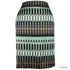 Dries Van Noten Green Copper Black Printed Pencil Skirt FR38 UK10