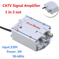 20DB 2-Way CATV Cable TV Antenna Booster Signal Amplifier Splitter HDTV AMP 220V