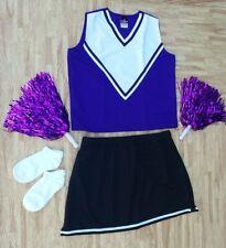 Adult L/Xl Purple Black Cheerleader Uniform Top Skirt Socks Poms 40-42/32-35 New
