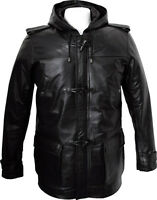 Mens Black Leather 3/4 Length Duffle Coat Jacket Hooded Hoody Size S M L XL 2XL