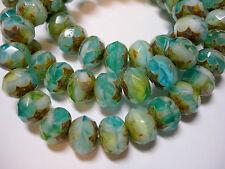 25 8x6mm Meadow Green, Aqua, Gold Czech Glass Picasso Rondelle beads