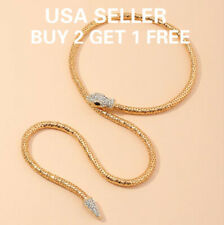 Gold Crystal Snake Necklace Choker Jewelry Statement Women Chain Party Christmas