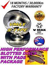 S SLOT fits JAGUAR E Type V12 4.2L 1968-1974 FRONT Disc Brake Rotors & PADS