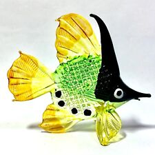 Miniature Glass Green & Black Fish Statue Animal Figurine Collectibles Decor New
