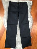 Burberry Sz 4 Women's Cotton Chino Pants Navy Blue Nautical Buttons Sailing RARE