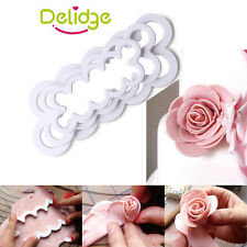 3D Rose Petal Mold Fondant Cake Decorating Cookie Cutter Plunger Sugarcraft Tool