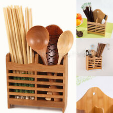 Bamboo Cutlery Holder Drainer Storage Spoon Chopsticks Organizer Drying Rack