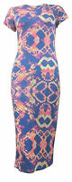 WOMENS LADIES CELEBRITY STYLE FLORAL TRIBAL CAP SLEEVE PRINT BODYCON MIDI DRESS