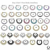 Septum Clicker Nose Rings Daith Ring Surgical Steel Crystal Gem Body Jewellery