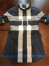 Little Girl's BURBERRY 'Check Print' Button-Up Dress - 5Y