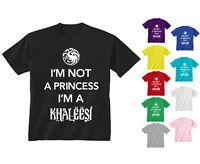 Youth Kids Childrens I'm Not A Princess I'm A Khaleesi T-shirt Age 5-13 Years