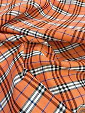 "Salmon Orange Scotch Plaid Woven Cotton FABRIC 44""W KILT SKIRT DRAPE BTY"