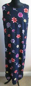 VTG Ladies R.K.Originals Navy Floral Rayon Shift Dress Size 16