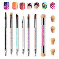6Pcs Nail Art Pens Brushes Pink Tool UV Acrylic Accessories Manicure Salon W5T3