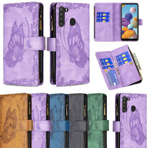 Zip Wallet Case Leather Flip Phone Cover For Samsung Galaxy A12 A21S A02 A21