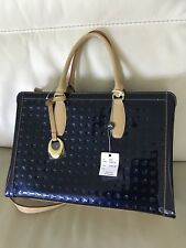 NWT~ARCADIA~Italy~BLUE Patent Leather SHOULDER BAG//TOTE/BRIEFCASE ~ Lg