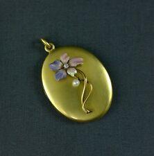 Antique Art Nouveau Locket 14K Gold Enamel Flower Pansy Violet Diamond Pearl
