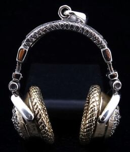 NEW DIAMOND HEADPHONE STERLING SILVER MENS PENDANT BIKER CHAIN NECKLACE GOTHIC