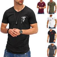 Jack & Jones Herren T-Shirt V-Neck Print Shirt Kurzarmshirt Longtop Casual
