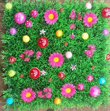 Artificial Grass Fairy Pink daisy Miniature Garden 25cm .Toadstools + ladybirds