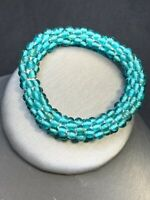 Vintage Stretch Bracelet Turquoise Ocean Aqua Glass Seed Bead Bohemian Beach