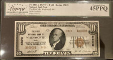 Wadsworth OHIO 1929 Ty 2 $10 National Bank Note Ch#5828 First NB Serial Number 1