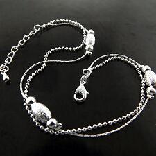 Anklet Genuine Real 925 Sterling Silver S/F Solid Ladies Snake Bead Design 25Cm