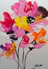 Original Acrylic 2.5x3.5 in. ACEO Colorful Abstract Floral Flowers painting