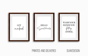 Bathroom Prints Set of 3 Minimalist Funny Quote Wall Art Get Naked Filthy Toilet