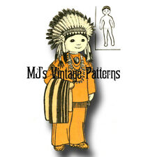 Vintage AMERICAN INDIAN Cloth Doll & Outfit Pattern ~ International Doll