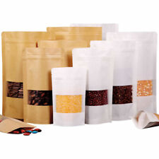 Stand Up Kraft Paper Zip Bag Food Packaging Lock Pouch&Clear Window Resealable