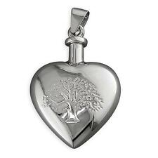 925 Sterling Silver Tree of Life Engraved Perfume/Ashes Bottle Pendant Gift Box