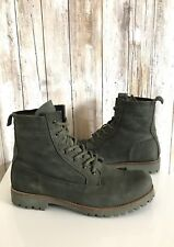 $253 BLACKSTONE Dark Olive Green Suede Lace Up Combat Moto Boots 40 8.5 / 9 *