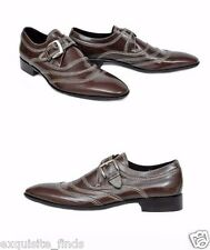 NEW DOLCE & GABBANA BROWN SPAZZOLATO LEATHER MONK-STRAP SHOES 44 - 11